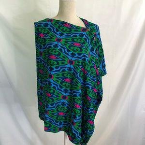 ESCAPADA Convertible Scarf Wrap Poncho Blue Green